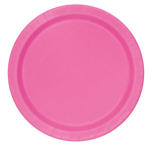 Bright Pink Round Paper Plates 16pk (23cm)