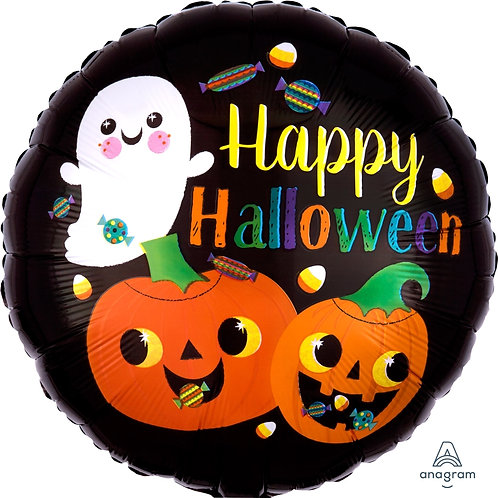 18 Inch Foil Balloon - Happy Halloween Ghost & Pumpkins