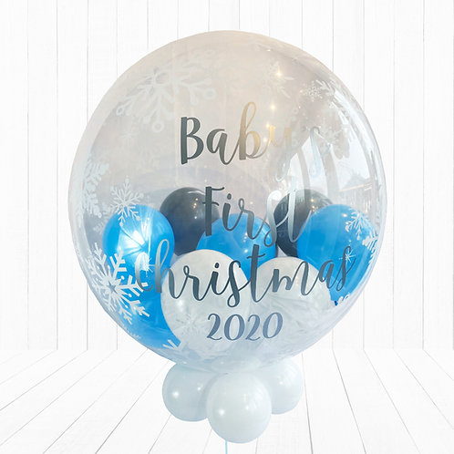 24 Inch Snowflake Bubble Balloon - Baby's First Christmas