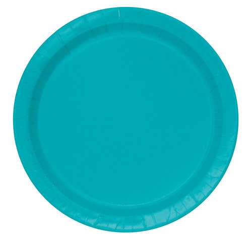 Teal Round Paper Plates 16pk (23cm)