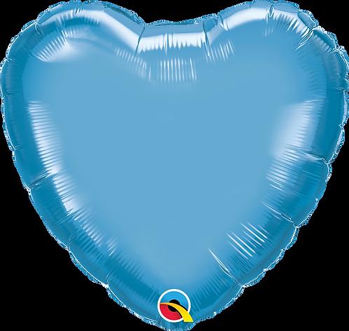 18 Inch Chrome Blue Heart Foil Balloon