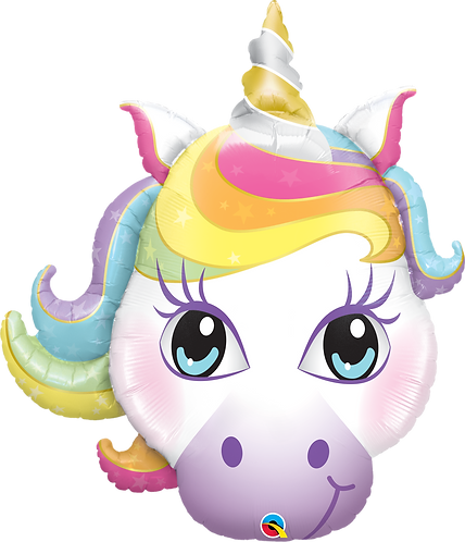 38 Inch Pastel Magical Unicorn Head Supershape Foil Balloon