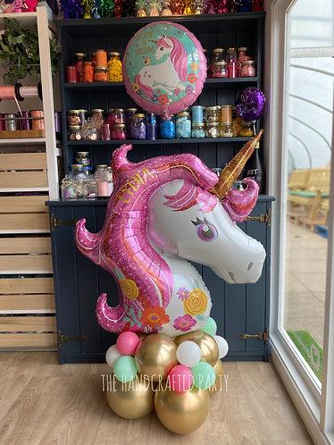 Pastel Pink Unicorn Supershape, personalised, with floating balloon
