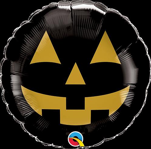 18 Inch Foil Balloon - Halloween Black & Gold Jack-o-Lantern Pumpkin Face