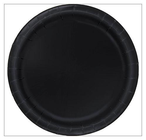 Black Round Paper Plates 16pk (23cm)
