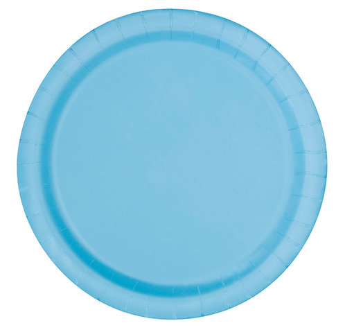 Baby Blue Round Paper Plates 16pk (23cm)