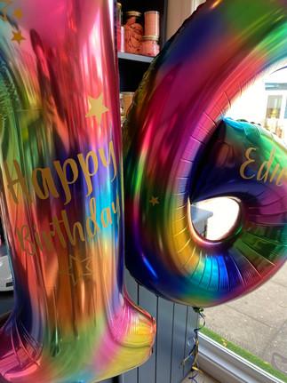 Personalised Rainbow Splash Number Balloons