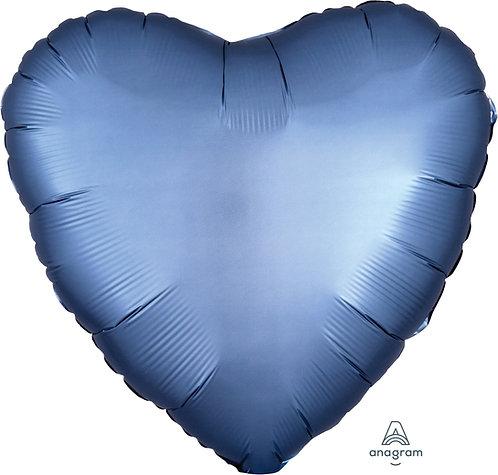 18 Inch Steel Blue Heart Foil Balloon, Satin Luxe