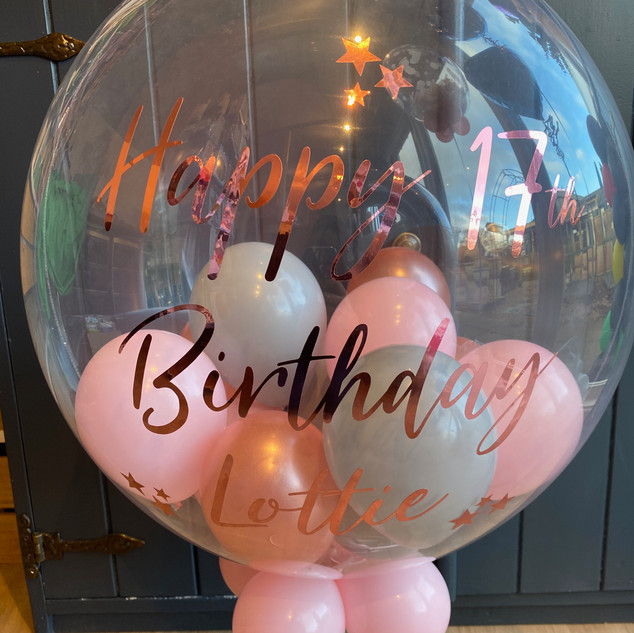 24 inch bubble balloon personalised rose