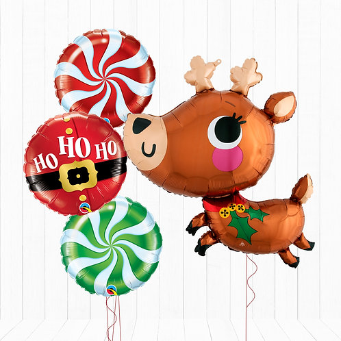 Adorable Reindeer Inflated Foil Balloon Bouquet