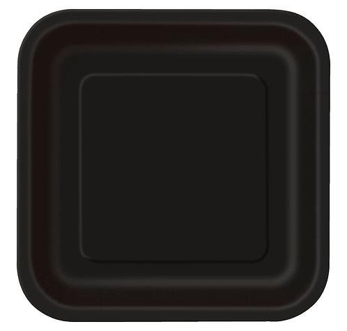Black Square Paper Plates 14pk (23cm)
