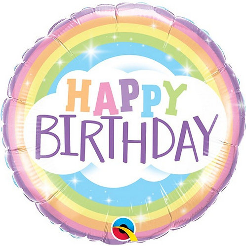 "Foil balloon 18"" Round - happy birthday Rainbow"