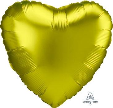 18 Inch Lemon Heart Foil Balloon, Satin Luxe