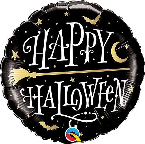 18 Inch Foil Balloon - Happy Halloween Black and Gold Witches Broomstick