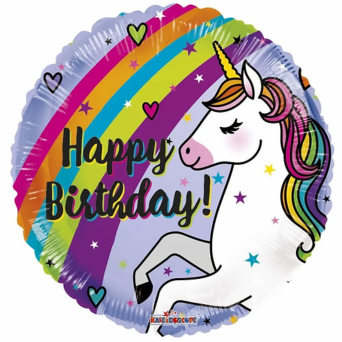 18 Inch Birthday Unicorn & Rainbow Foil Balloon