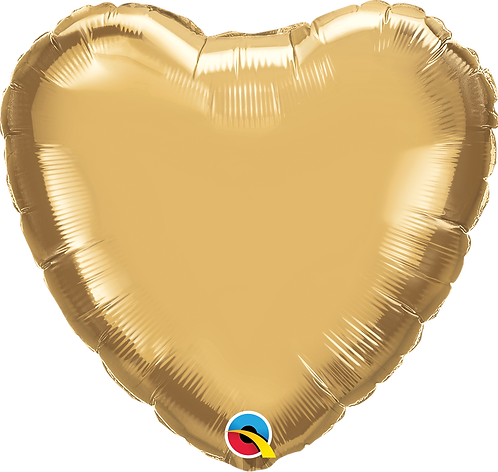 18 Inch Chrome Gold Heart Foil Balloon