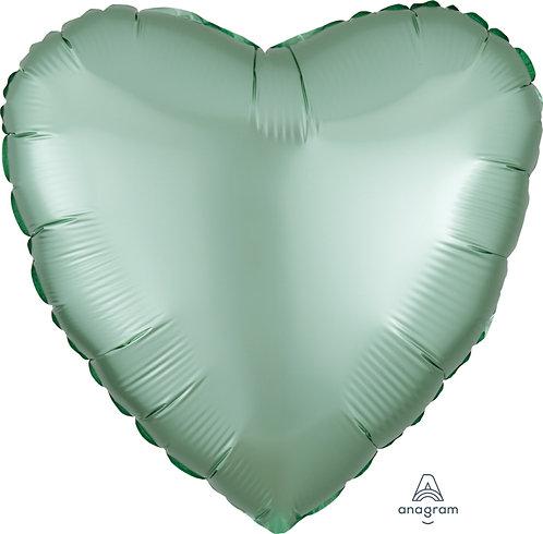 18 Inch Mint Green Heart Foil Balloon, Satin Luxe
