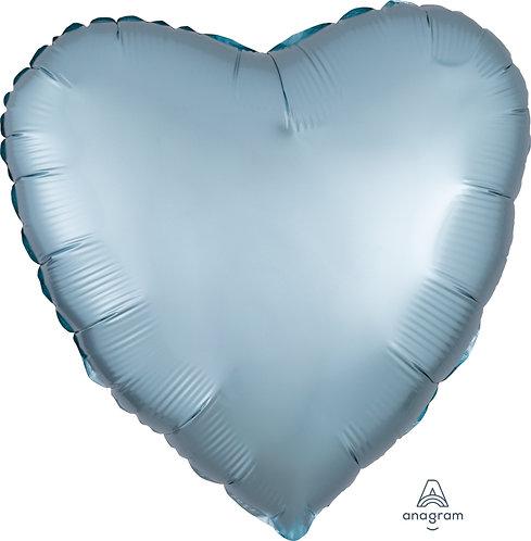18 Inch Pastel Blue Heart Foil Balloon, Satin Luxe