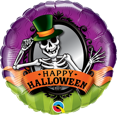 18 Inch Foil Balloon - Happy Halloween Skeleton Top Hat