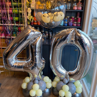 40th birthday - large silver numbers personalised on latex balloon base with co-ordinating personalised bubble balloon