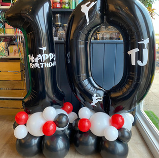 10th birthday, Martial Arts, Karate Themed - Large black numbers personalised on a black, red and white balloon base