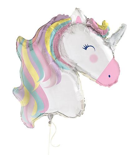 42 Inch Content Pastel Unicorn Head Supershape Foil Balloon