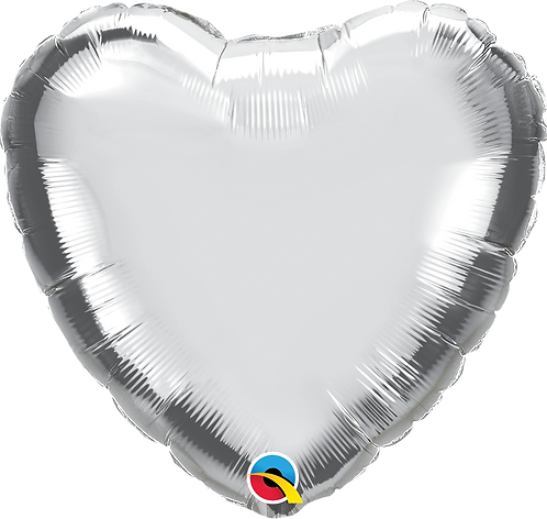 18 Inch Silver Heart Foil Balloon