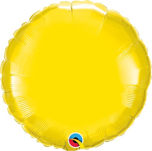 18 Inch Yellow Round Foil Balloon