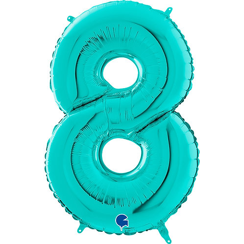 40 Inch Tiffany Blue Foil Number Balloon