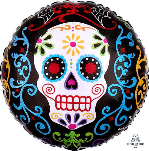18 Inch Foil Balloon - Happy Halloween Skull Day of the Dead