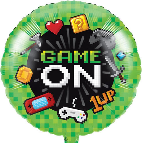 18 Inch 'Game On' Round Foil Gaming Balloon