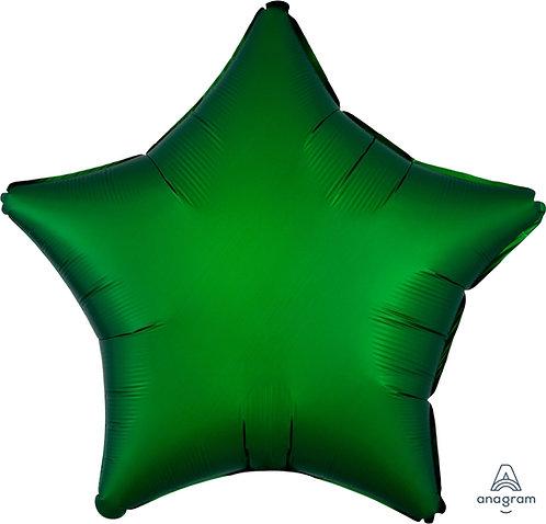 18 Inch Emerald Green Plain Star Foil Balloon, Matt Finish