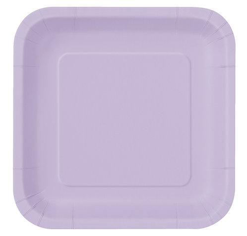 Lilac Square Paper Plates 14pk (23cm)
