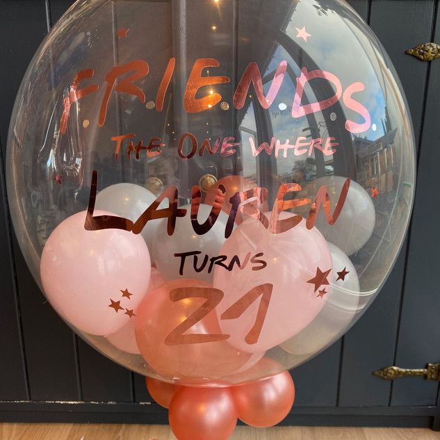 24 inch bubble balloon friends rose gold