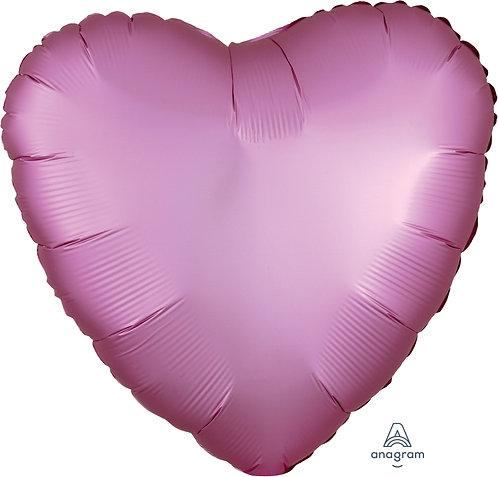18 Inch Flamingo Pink Heart Foil Balloon, Satin Luxe