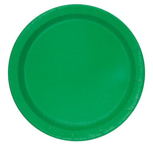 Dark Green Round Paper Plates 16pk (23cm)