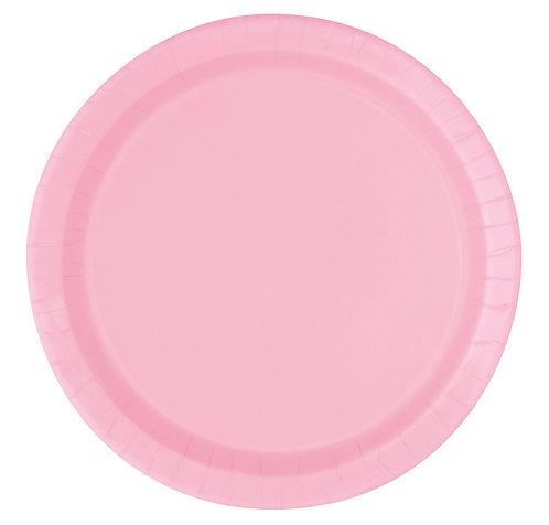 Baby Pink Round Paper Plates 16pk (23cm)