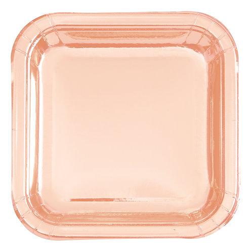 Metallic Shiny Rose Gold Square Paper Plates 8pk (23cm)