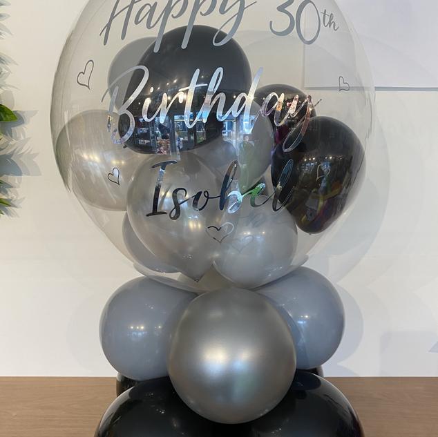 30th Birthday - Black, grey & silver bub