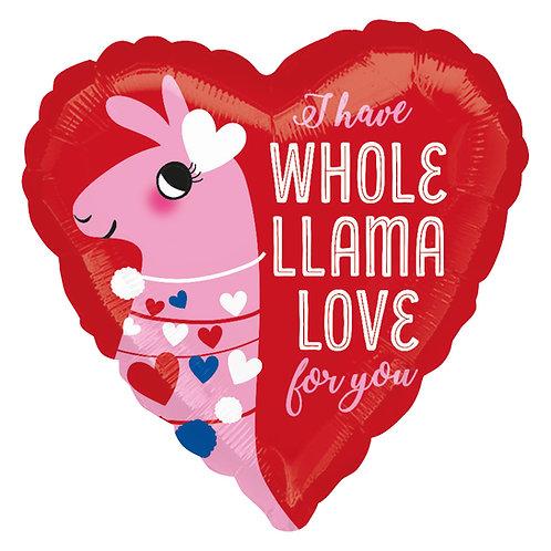 "Foil Balloon 18"" heart shaped - Valentine's Llama Love"