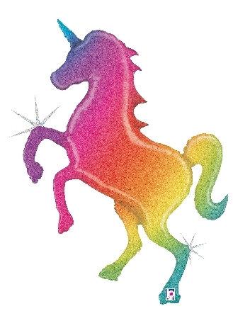 54 Inch Glitter Rainbow Unicorn Supershape Foil Balloon