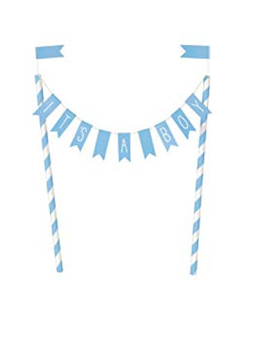 Cake Topper - Blue Hearts Baby Shower Bunting - It's a Boy