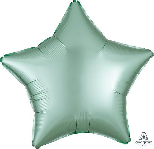 18 Inch Mint Green Plain Star Foil Balloon, Matt Finish