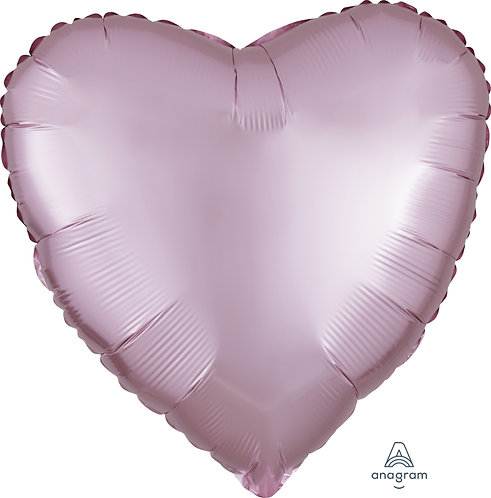 18 Inch Pink Heart Foil Balloon, Satin Luxe