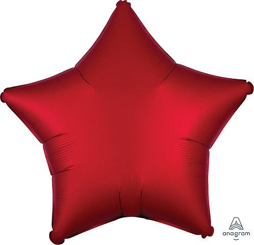 18 Inch Sangria Red Plain Star Foil Balloon, Matt Finish