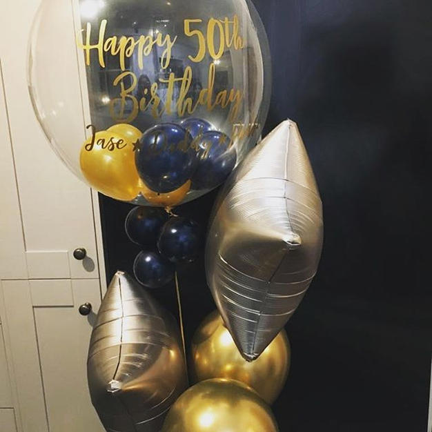 Personalised bubble balloon bouquet done