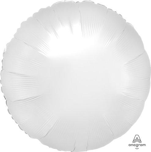 18 Inch White Round Foil Balloon, Satin Luxe