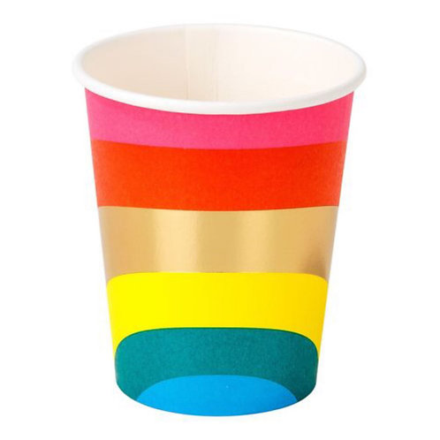Rainbow Paper Cups 12pk (250ml/9oz)