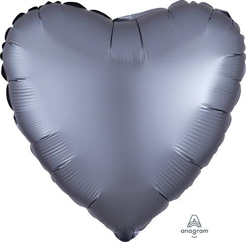 18 Inch Graphite Grey Heart Foil Balloon, Satin Luxe