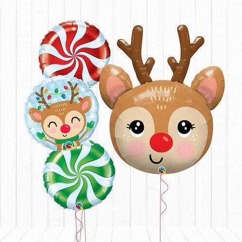 Rudolph Reindeer - Helium Inflated Foil Balloon Bouquet